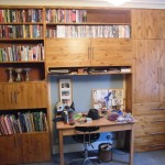 Softwood bookcase and cupboards with antique pine stain. Herne Hill SE24