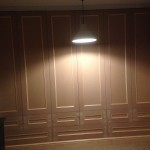Unpainted MDF wardrobe with 9 drawers.