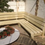 Dog-leg garden bench from treated softwood. Herne Hill SE24