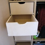 MDF drawers with bottom-fixed runners and cut-out hand holds. Brixton SW2