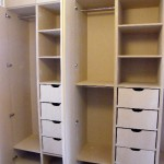 Drawers, hanging and shelving in MDF 5-door wardrobe. Brixton SW2