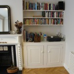 Alcove cabinet with inset doors and bookcase. Crouch End N8